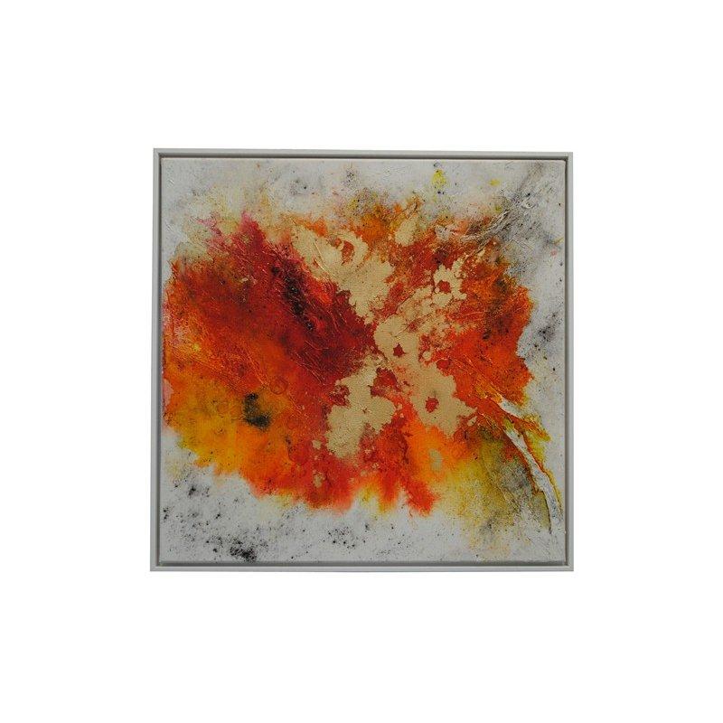 bild abstrakt in gelb orange rot 50x50x2 cm inkl schattenfugenrahme. Black Bedroom Furniture Sets. Home Design Ideas